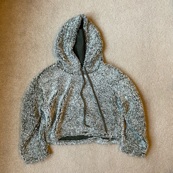 Wild Fable   Green Sherpa Cropped Hoodie